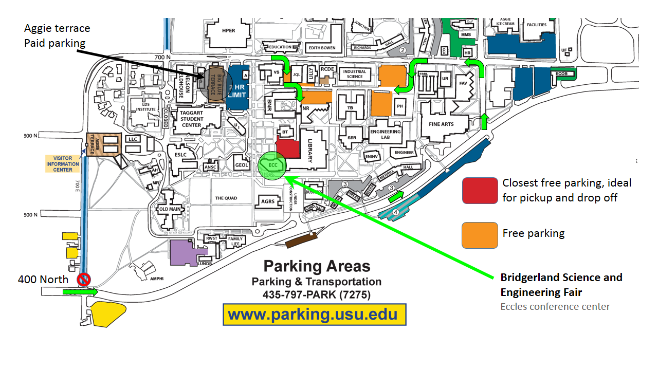 Usu Parking Map Schedule & Directions | Bridgerland 2014 Science and Engineering Fair